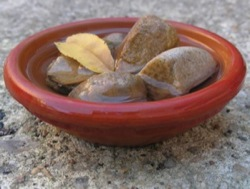 Photo of stones in a soup bowl